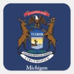 Bandera de Michigan Pegatinas Cuadradases