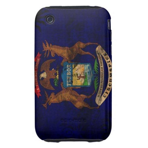 Bandera de Michigan Tough iPhone 3 Carcasas