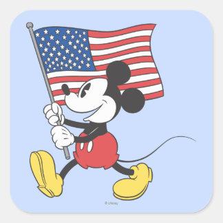 Bandera de Mickey el | del día de fiesta Pegatina Cuadrada