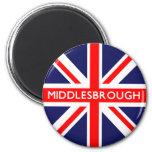 Bandera de Middlesbrough Reino Unido Iman Para Frigorífico
