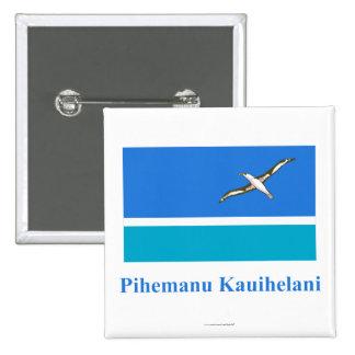 Bandera de Midway Islands con nombre en Hawaiian Pin Cuadrada 5 Cm