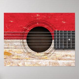Bandera de Mónaco en la guitarra acústica vieja Poster