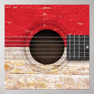 Bandera de Mónaco en la guitarra acústica vieja Impresiones
