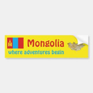 Bandera de Mongolia + Pegatina para el parachoques Pegatina Para Auto