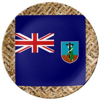 Bandera de Montserrat en la materia textil Platos De Cerámica