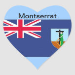 Bandera de Montserrat Pegatina En Forma De Corazón