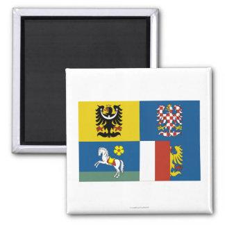 Bandera de Moravia-Silesia Imán Cuadrado