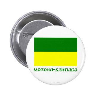 Bandera de Morona-Santiago con nombre Pin Redondo 5 Cm