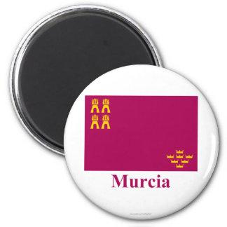 Bandera de Murcia con nombre Imán Redondo 5 Cm