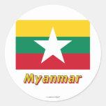 Bandera de Myanmar con nombre Pegatina Redonda