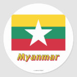 Bandera de Myanmar con nombre Pegatinas Redondas
