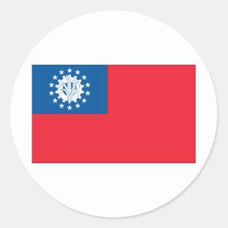Bandera de Myanmar Pegatina Redonda