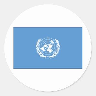 Bandera de Naciones Unidas Pegatina Redonda
