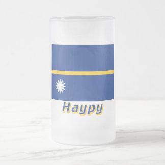 Bandera de Nauru con nombre en ruso Taza De Cristal