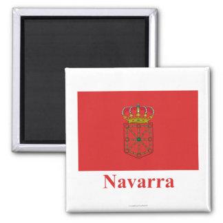 Bandera de Navarra con nombre Imán Cuadrado