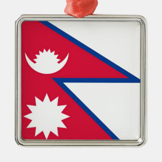 Bandera de Nepal - नेपालकोझण्डा Adorno Navideño Cuadrado De Metal