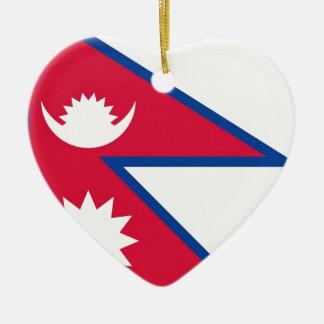 Bandera de Nepal - नेपालकोझण्डा Adorno Navideño De Cerámica En Forma De Corazón