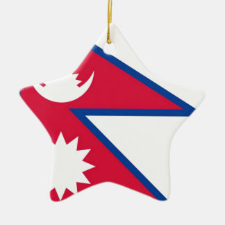 Bandera de Nepal - नेपालकोझण्डा Adorno Navideño De Cerámica En Forma De Estrella