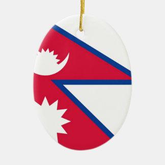 Bandera de Nepal - नेपालकोझण्डा Adorno Navideño Ovalado De Cerámica