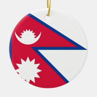 Bandera de Nepal - नेपालकोझण्डा Adorno Navideño Redondo De Cerámica
