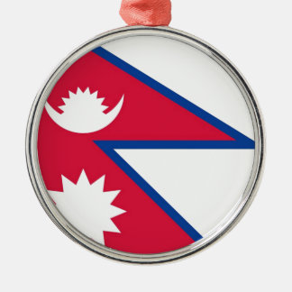 Bandera de Nepal - नेपालकोझण्डा Adorno Navideño Redondo De Metal