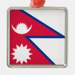 Bandera de Nepal Adorno Cuadrado Plateado