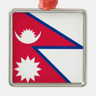 Bandera de Nepal Adorno Navideño Cuadrado De Metal