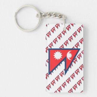 Bandera de Nepal Llavero Rectangular Acrílico A Una Cara
