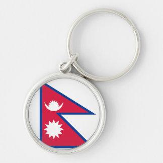 Bandera de Nepal Llavero Redondo Plateado