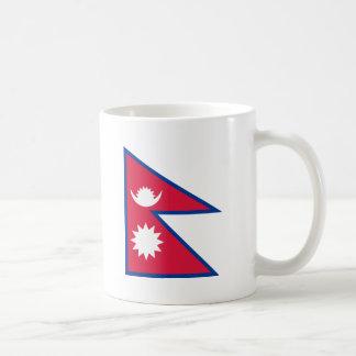 Bandera de Nepal Taza Básica Blanca