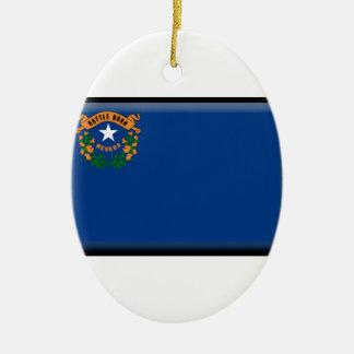Bandera de Nevada Adorno Navideño Ovalado De Cerámica