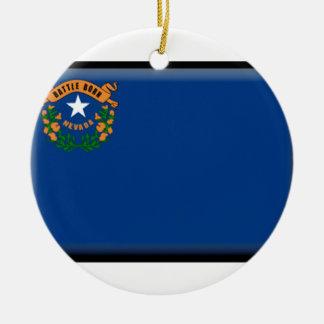 Bandera de Nevada Adorno Navideño Redondo De Cerámica