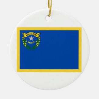 Bandera de Nevada del borde del oro Adorno Navideño Redondo De Cerámica