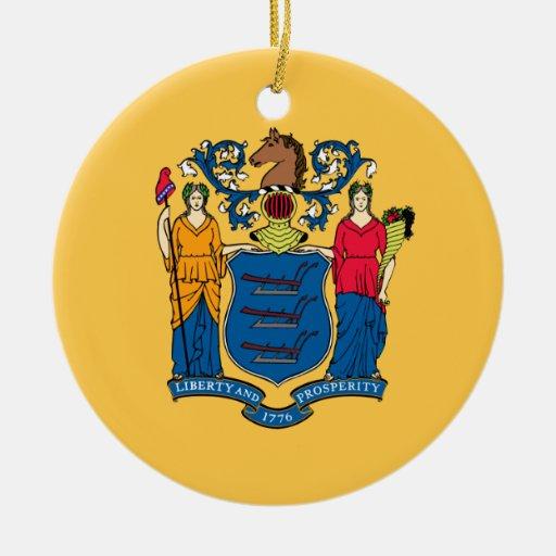 Bandera de New Jersey Adorno Redondo De Cerámica