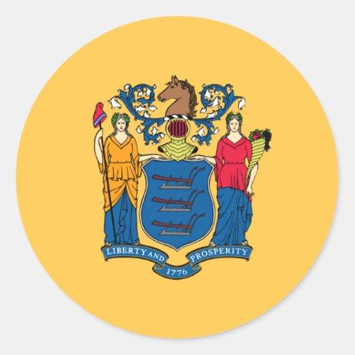 Bandera de New Jersey Pegatina Redonda