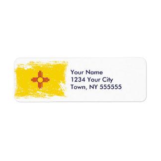 Bandera de New México del Grunge Etiquetas De Remite