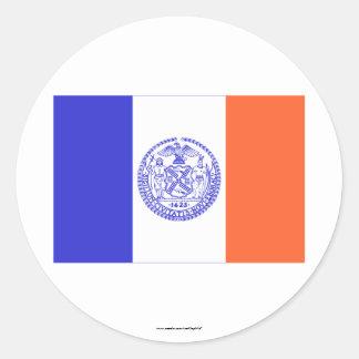 Bandera de New York City Etiqueta Redonda