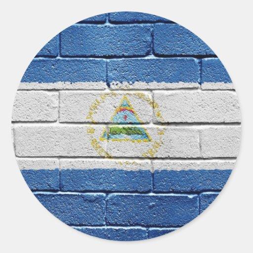 Bandera de Nicaragua Pegatina Redonda