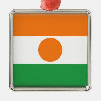 Bandera de Niger Adorno Cuadrado Plateado