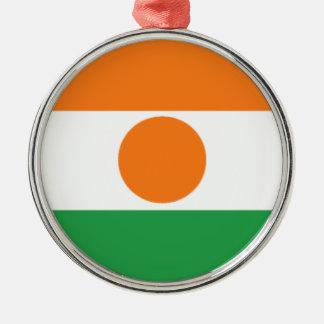 Bandera de Niger Adorno Redondo Plateado