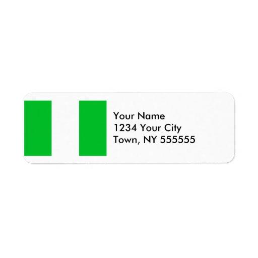 Bandera de Nigeria Etiqueta De Remite