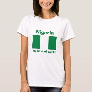 Bandera de Nigeria + Mapa + Camiseta del texto