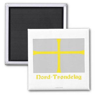 Bandera de Nord-Trøndelag con nombre Imán Para Frigorifico