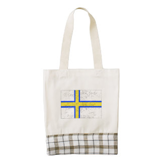 Bandera de Norrland (apenada) Bolsa Tote Zazzle HEART