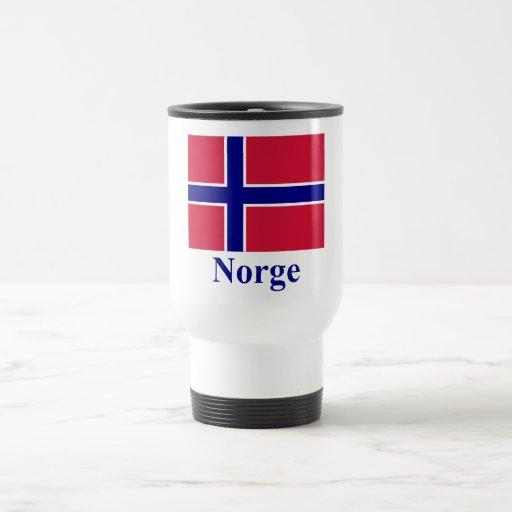 Bandera de Noruega con nombre en noruego Tazas