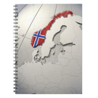 Bandera de Noruega Libros De Apuntes Con Espiral