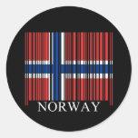Bandera de Noruega del código de barras Pegatinas Redondas