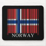 Bandera de Noruega del código de barras Alfombrilla De Raton