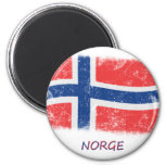 Bandera de Noruega del Grunge Imanes De Nevera