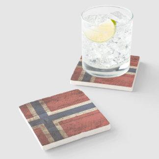 Bandera de Noruega en grano de madera viejo Posavasos De Piedra
